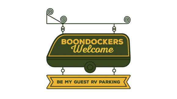 """Boondockers Welcome logo of an RV-shaped plaque with the message """"Be my guest RV parking"""""""