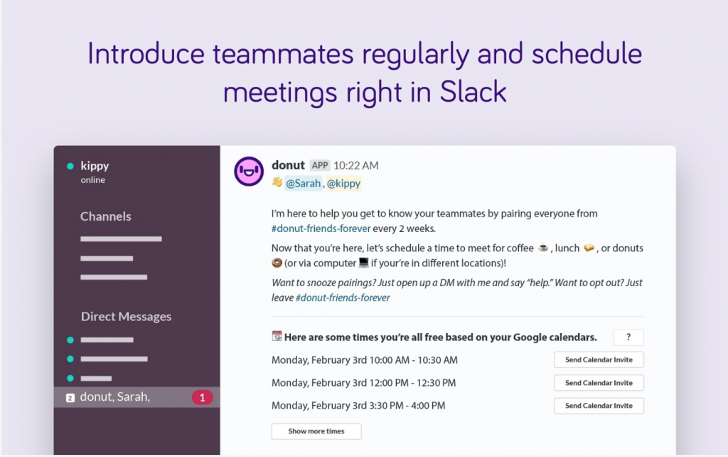 A screen grab of the Donut app being used on Slack to invite to team members to a virtual meeting.
