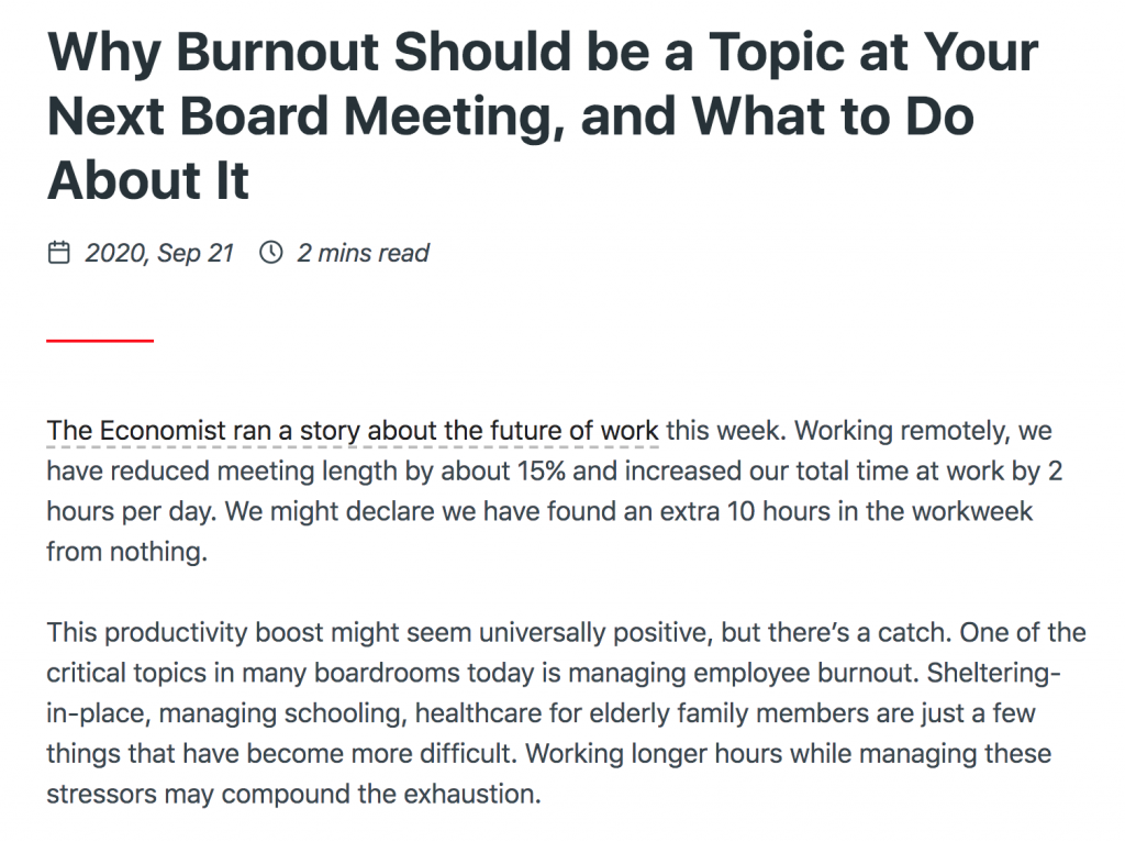 Preview of burnout article regarding concern over remote work policy