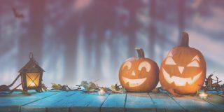 Jack-o-lanterns with spooky background