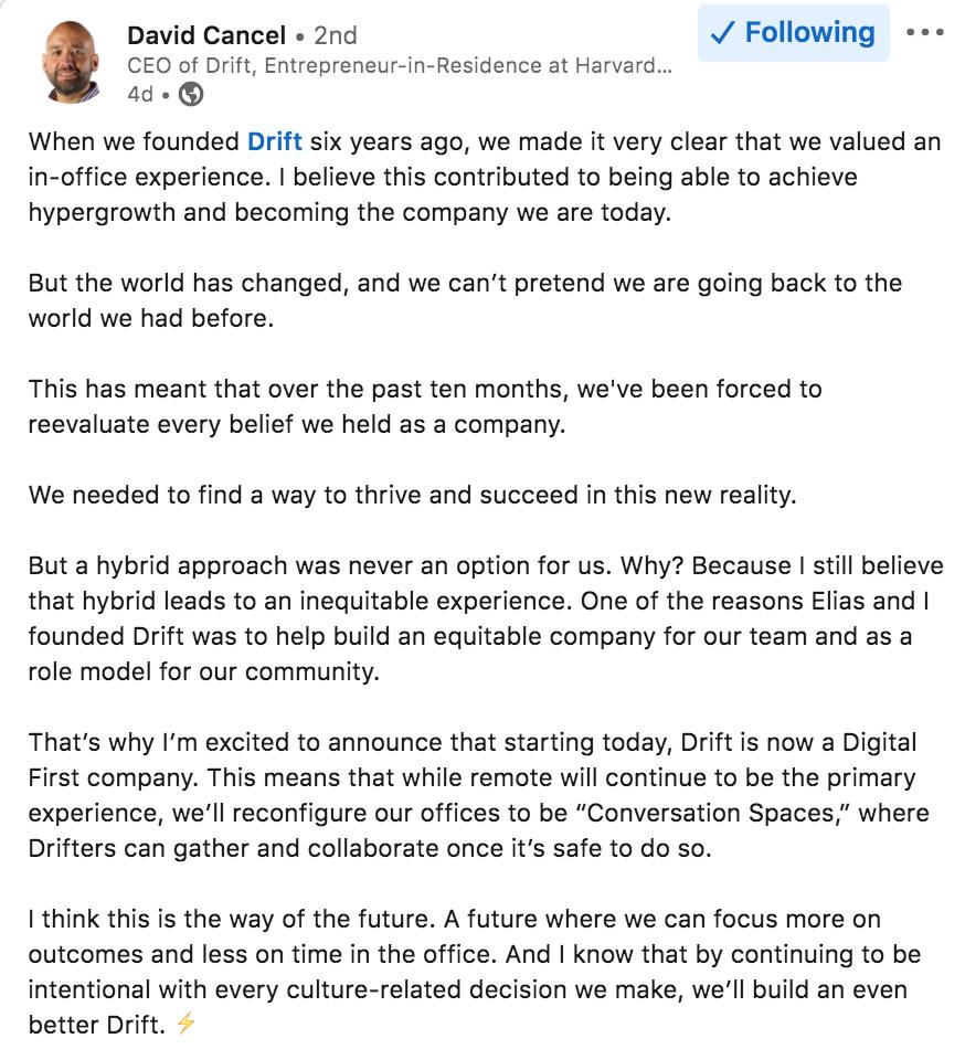 Digital First statement from David Cancel of Drift