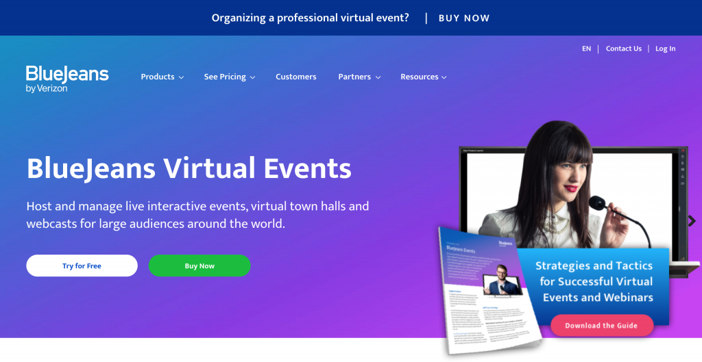 Bluejeans tool for virtual events