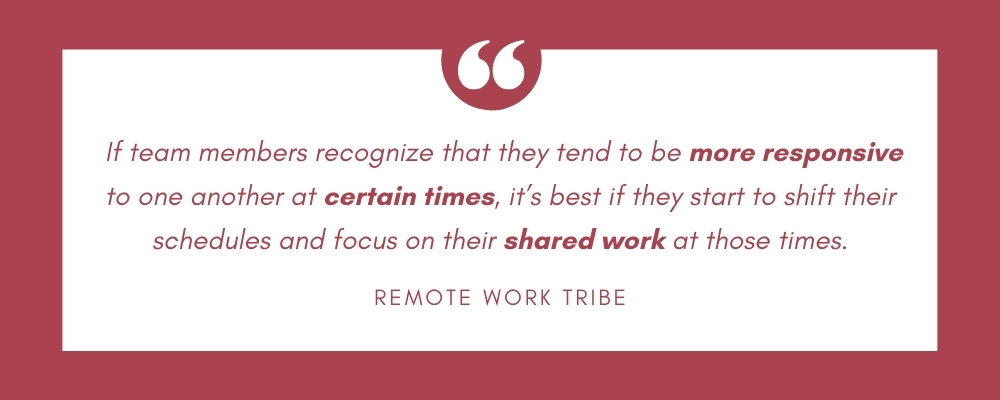 If team members recognize that they tend to be more responsive to one another at certain times, it's best if they start to shift their schedules and focus on their shared work at those times.